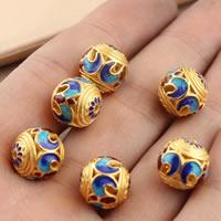 Cloisonne Perlen, Cloisonné, rund, vergoldet, hohl, frei von Blei & Kadmium, 12mm, Bohrung:ca. 1.5mm, verkauft von PC
