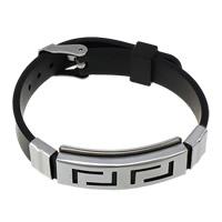 Herren-Armband & Bangle, Silikon, mit Edelstahl, schwarz, frei von Nickel, Blei & Kadmium, 38.5x15x8mm,10mm, verkauft per ca. 8.5 ZollInch Strang
