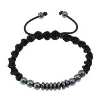 Hämatit Woven Ball Armbänder, Non- magnetische Hämatit, mit Baumwolle, einstellbar, 5.5x6mm, 6mm, Länge:6-9 ZollInch, 10SträngeStrang/Menge, verkauft von Menge