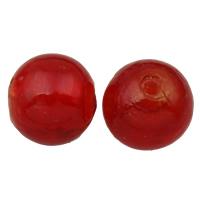 Silberfolie Lampwork Perlen, rund, handgemacht, verschiedene Größen vorhanden, rot, Bohrung:ca. 2mm, verkauft von Tasche
