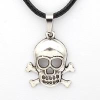 PU-Schnur-Halskette, Zinklegierung, mit PU Leder, mit Verlängerungskettchen von 5cm, Schädel, antik silberfarben plattiert, frei von Nickel, Blei & Kadmium, 22x26x5mm, verkauft per ca. 17 ZollInch Strang