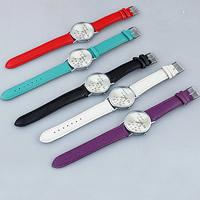 Damen Armbanduhr, Zinklegierung, mit PU Leder & Glas, Platinfarbe platiniert, einstellbar & mit Brief Muster, keine, frei von Nickel, Blei & Kadmium, 37mm, Länge:ca. 9 ZollInch, verkauft von PC
