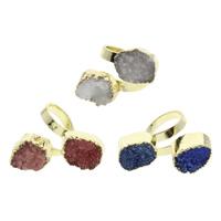 Druzy Finger Ring, Eisquarz Achat, mit Messing, natürlich, druzy Stil & gemischt, 25x30x28mm-33x35x30mm, Größe:9, 5PCs/Tasche, verkauft von Tasche