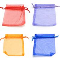 Schmuck Kordelzugbeutel, Organza, Rechteck, verschiedene Größen vorhanden & transluzent, keine, 100PCs/Tasche, verkauft von Tasche