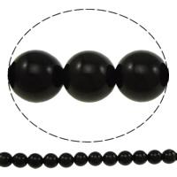 Schwarze Obsidian Perlen, Schwarzer Obsidian, rund, verschiedene Größen vorhanden, Bohrung:ca. 1mm, verkauft von Menge