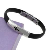 Herren-Armband & Bangle, Silikon, mit Edelstahl, Kreuz, schwarz, 8mm, 36x9x5mm, verkauft per ca. 7.5 ZollInch Strang