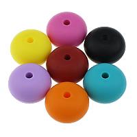 Silikon Großes Loch Perlen, Rondell, FDA-Zulassung, keine, 15x23mm, Bohrung:ca. 4mm, 50PCs/Tasche, verkauft von Tasche