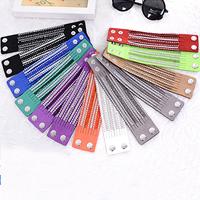 Slake Armband, Baumwollsamt, mit Zinklegierung, Platinfarbe platiniert, mit Strass & Multi-Strang, keine, frei von Nickel, Blei & Kadmium, 45mm, verkauft per ca. 7.8 ZollInch Strang