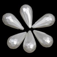 ABS-Kunststoff-Perlen Anhänger, Tropfen, facettierte, weiß, 9x18mm, Bohrung:ca. 1mm, 2Taschen/Menge, ca. 830PCs/Tasche, verkauft von Menge