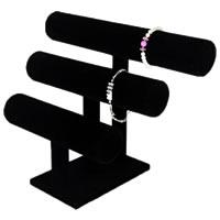 Baumwollsamt Armbandständer, mit Holz, schwarz, 295x210x115mm, 5PCs/Menge, verkauft von Menge