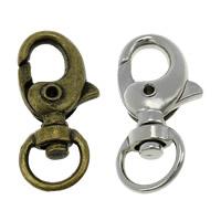 Zinklegierung Karabinerverschluss mit Drehgelenk, plattiert, keine, frei von Nickel, Blei & Kadmium, 14.50x31x7mm, Bohrung:ca. 9x5mm, 200PCs/Menge, verkauft von Menge