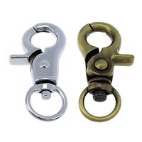 Zinklegierung Karabinerverschluss mit Drehgelenk, plattiert, keine, frei von Nickel, Blei & Kadmium, 23x44.50x8mm, Bohrung:ca. 12x7mm, 50PCs/Menge, verkauft von Menge