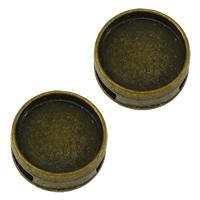Zinklegierung Folie Charme finden, flache Runde, antike Bronzefarbe plattiert, frei von Nickel, Blei & Kadmium, 14x14x5mm, Bohrung:ca. 8.5x1.5mm, Innendurchmesser:ca. 10mm, 200PCs/Menge, verkauft von Menge