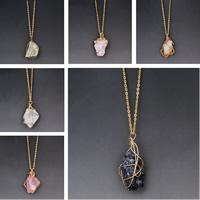 Natürlicher Quarz Halskette, mit Eisen, Klumpen, plattiert, Oval-Kette, keine, 40x15mm, verkauft per ca. 18 ZollInch Strang
