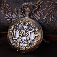Mode Halskette Uhr, Zinklegierung, mit Eisenkette & Glas, flache Runde, Wort Vater, antike Bronzefarbe plattiert, Twist oval, frei von Nickel, Blei & Kadmium, 47x14mm, verkauft per ca. 31 ZollInch Strang
