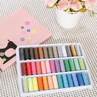 Sewing Thread, Nähgarn, mit Karton & Kunststoff, Pistole, nichtelastisch, verschiedene Stile für Wahl, gemischte Farben, 275x210mm, 39PCs/setzen, verkauft von setzen