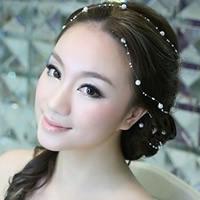 ABS-Kunststoff-Perlen Braut Girlande, mit Kristall Faden, weiß, 5mm, Länge:ca. 49 ZollInch, 200SträngeStrang/Tasche, verkauft von Tasche