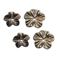 Spacer Perlen Schmuck, Schwarze Muschel, Blume, natürlich, verschiedene Größen vorhanden, Bohrung:ca. 1mm, 20PCs/Menge, verkauft von Menge