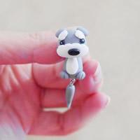 Polymer Ton Cartoon-Split-Ohrring, Edelstahl Stecker, Hund, handgemacht, 42mm, verkauft von Paar