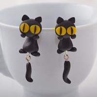 Polymer Ton Cartoon-Split-Ohrring, mit Kunststoff Ohrmutter, Edelstahl Stecker, Katze, handgemacht, 46mm, verkauft von Paar