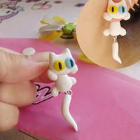 Polymer Ton Cartoon-Split-Ohrring, Edelstahl Stecker, Katze, handgemacht, 50mm, verkauft von Paar