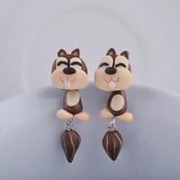 Polymer Ton Cartoon-Split-Ohrring, mit Kunststoff Ohrmutter, Edelstahl Stecker, Eichhörnchen, handgemacht, 35mm, verkauft von Paar