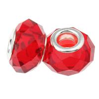 European Kristall Perlen, Rondell, Sterling Silber-Dual-Core ohne troll, Rubin, 14x9mm, Bohrung:ca. 5mm, Länge:5 , 20PCs/Tasche, verkauft von Tasche
