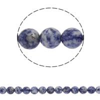Blauer Tupfen Stein Perlen, blauer Punkt, rund, synthetisch, verschiedene Größen vorhanden & facettierte, Bohrung:ca. 1mm, verkauft per ca. 15 ZollInch Strang