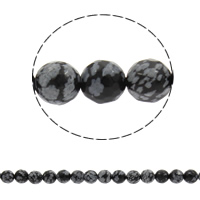 Schneeflocke Obsidian, rund, synthetisch, verschiedene Größen vorhanden & facettierte, Bohrung:ca. 1mm, verkauft per ca. 14.5 ZollInch Strang