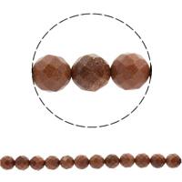 Goldstein Perlen, Goldsand, rund, synthetisch, verschiedene Größen vorhanden & facettierte, Bohrung:ca. 1mm, verkauft per ca. 14.5 ZollInch Strang