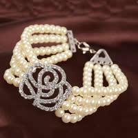 Glas Perlen-Armband, Zinklegierung, mit Glasperlen, mit Verlängerungskettchen von 5cm, Blume, silberfarben plattiert, 4-Strang & mit Strass, frei von Nickel, Blei & Kadmium, 25mm, verkauft per ca. 7 ZollInch Strang