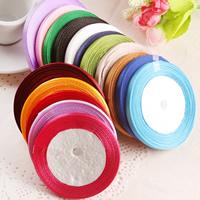 Satinband, gemischte Farben, 6mm, 50SträngeStrang/Tasche, ca. 22m/Strang, verkauft von Tasche