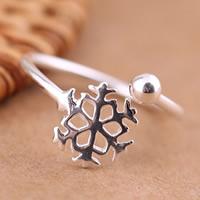 Weihnachten Finger Ring, Messing, Schneeflocke, versilbert, 10-20mm, Größe:5, verkauft von PC