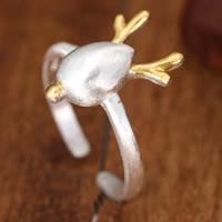 Weihnachten Finger Ring, Messing, Hirsch, versilbert, gebürstet & zweifarbig, 10-15mm, Größe:5, verkauft von PC