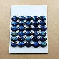 Tigerauge Cabochon, flachoval, verschiedene Größen vorhanden & flache Rückseite, blau, verkauft von Menge