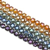Sechskant Kristallperlen, Kristall, Sechseck, bunte Farbe plattiert, facettierte, mehrere Farben vorhanden, 16x16x8mm, Bohrung:ca. 1mm, ca. 40PCs/Strang, verkauft per ca. 24 ZollInch Strang