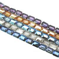 Kristall-Perlen, Kristall, Pendular Lochrose, bunte Farbe plattiert, facettierte, mehrere Farben vorhanden, 13x19x7mm, Bohrung:ca. 1.5mm, ca. 40PCs/Strang, verkauft per ca. 25.5 ZollInch Strang