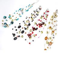 Lampwork Halskette, mit Eisenkette & Acryl, mit Verlängerungskettchen von 5cm, oval, handgemacht, 3-Strang, gemischte Farben, 8-20mm, Länge:ca. 16.5 ZollInch, 3SträngeStrang/Tasche, verkauft von Tasche