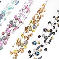 Glas Halskette, mit Eisenkette & Acryl, mit Verlängerungskettchen von 5cm, 3-Strang, gemischte Farben, 6-12mm, Länge:ca. 16.5 ZollInch, 3SträngeStrang/Tasche, verkauft von Tasche