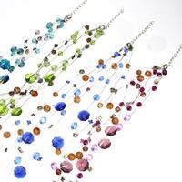 Glas Halskette, mit Eisenkette & Acryl, mit Verlängerungskettchen von 5cm, Blume, 3-Strang, gemischte Farben, 6-10mm, Länge:ca. 16.5 ZollInch, 3SträngeStrang/Tasche, verkauft von Tasche