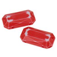 Chemische Wash Acryl Perlen, Rechteck, chemische-Waschanlagen & facettierte, rot, 24x13x6mm, Bohrung:ca. 1mm, 2Taschen/Menge, ca. 298PCs/Tasche, verkauft von Menge