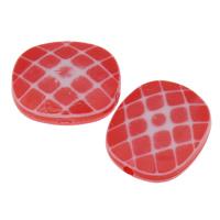 Chemische Wash Acryl Perlen, Rechteck, chemische-Waschanlagen & facettierte, rot, 16x13x5.50mm, Bohrung:ca. 1mm, 2Taschen/Menge, ca. 191PCs/Tasche, verkauft von Menge