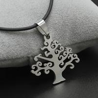 Baum des Lebens-Halskette, Edelstahl, mit Gummiband, Eisen Karabinerverschluss, mit Verlängerungskettchen von 4cm, originale Farbe, 30x27x2mm, verkauft per ca. 17 ZollInch Strang
