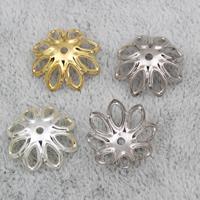 Eisen Perlenkappen, Blume, plattiert, keine, frei von Nickel, Blei & Kadmium, 14x4mm, Bohrung:ca. 1mm, 2000PCs/Tasche, verkauft von Tasche