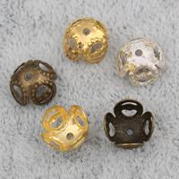 Eisen Perlenkappen, Blume, plattiert, keine, frei von Nickel, Blei & Kadmium, 8x5mm, Bohrung:ca. 1mm, 2000PCs/Tasche, verkauft von Tasche