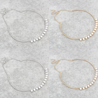 Plastik-Perlenkette, Zinklegierung, mit ABS-Kunststoff-Perlen & Eisenkette, mit Verlängerungskettchen von 6.5cm, rund, plattiert, Oval-Kette, keine, frei von Nickel, Blei & Kadmium, 6mm, verkauft per ca. 12.5 ZollInch Strang