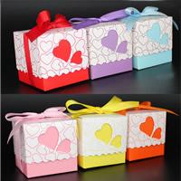Hochzeit Süßigkeitenkasten, Papier, mit Satinband, Quadrat, handgemacht, mit einem Muster von Herzen, keine, 50x50x50mm, 300PCs/Menge, verkauft von Menge