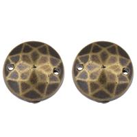 Acryl Schmuckverbinder, flache Runde, antike Bronzefarbe plattiert, facettierte, 12mm, Bohrung:ca. 1mm, 2Taschen/Menge, ca. 600PCs/Tasche, verkauft von Menge