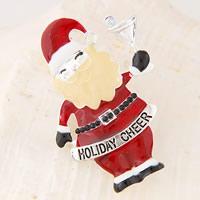 Weihnachten Broschen, Zinklegierung, Weihnachtsmann, silberfarben plattiert, Weihnachtsschmuck & mit Brief Muster & Emaille & mit Strass, frei von Nickel, Blei & Kadmium, 28x52mm, verkauft von PC