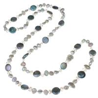Süßwasserperlen Pullover Halskette, Natürliche kultivierte Süßwasserperlen, mit Kristall, Münze, facettierte, 9-15mm, verkauft per ca. 38.5 ZollInch Strang